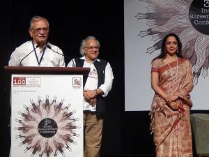 Gulzar speaking after having received the FWA award from actress Hema Malini.