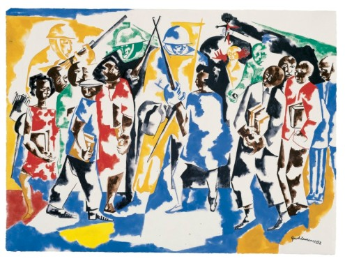 soldiers and students (1962) by Jacob Lawrence